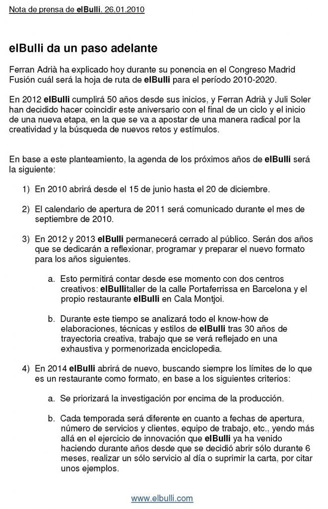 Nota de prensa de elBulli